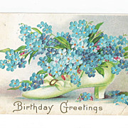 Post Card Beautifully Embossed Edwardian Ladies Shoe with Forget me Nots