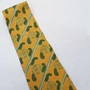 GIORGIO ARMANI  Brown Hunter Stripe Paisley Jacquard Print Silk Tie