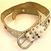 SALE White Leather Rhinestone and Metal Grommet Belt
