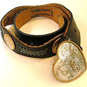 SALE Black Leather Heart Buckle and Concho Belt with Turq Leather Lacing