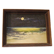 SOLD Modernist A.G. ARCHIBALD Moon over the Ocean Oil in Wood Frame-Impressionist Painting