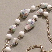 SALE Murano Glass White and Pastel Art Glass Beads with Solid White Beads and Chain ...