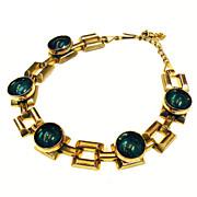 SALE Deeply Set Velvet Green Cabochon Silver Tone Link Necklace