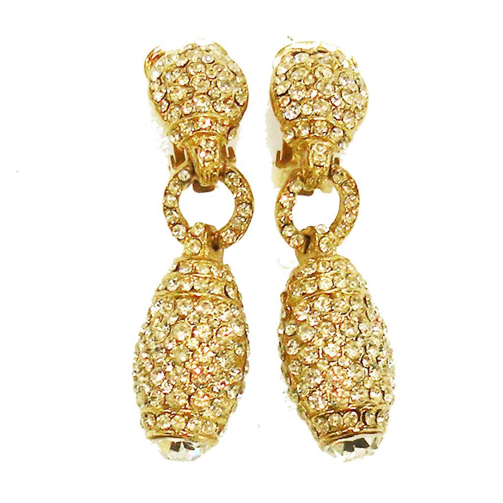 TARA Pave Rhinestone Drop Crystal Earrings with Large Rhinestone Bottom