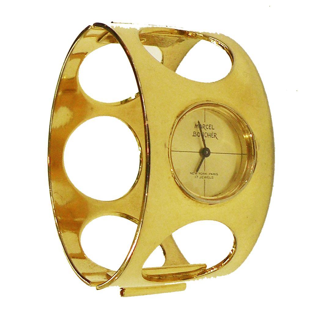 MARCEL BOUCHER Modernist Space Age Gold Tone Watch Hinged Clamper Cuff Bracelet