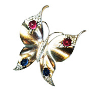 SALE CROWN TRIFARI Sterling with Gold Wash Red and Blue Cabochoned Butterfly Brooch