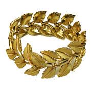 SALE CROWN TRIFARI Articulated Link Leafy Florentine Matte Gold Tone Soft Bracelet