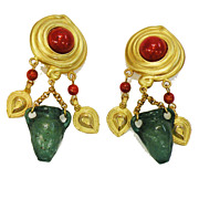 SALE Gorgeous Matte Gold Tone  Finish Deep Red Cabochon and Green Urn Dangling Earrings