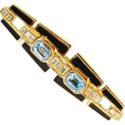 SALE Deep Aqua Colored Glass and Icy Clear Rhinestone Gold Plated Brooch
