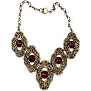 SALE Dark Brass Baroque Filigree Link Necklace with Dark Red Bezel Set Cabochons