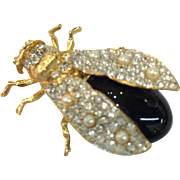 SALE CRAFT Big Beautiful Pave and Imitation Pearl Figural Bug Brooch in Florentine Gold Tone S