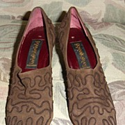 SALE Vintage Donna Karen Shoes in Brown Suede with Trapunto Size 8AA