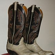 SALE Tony Llama Vintage Multi Stitch on Black with Ivory Bottom Cowboy Boots Ladies Size 7 1/2