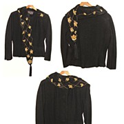 SALE Opulent Black Wool 1940's Jeweled Wrap Fitted Scarf Jacket