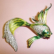 SALE Wonderful Enameled Sterling and Rhinestone Whipping Tail Fish Brooch