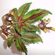 SALE Elegantly Enameled Double Maple Leaf Brooch
