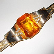 SALE Dimensional 1940's Deco Brooch with Faceted Amber Rhinestone