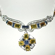 SALE Crown Trifari Pat Pending Fit for A Queen Royal, Citrine and Diamond Colored Rhinestone N