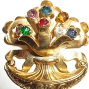 SALE Retro Rolled Metal Work and Scrolled Multi Color Rhinestone Floral Basket/Urn Brooch