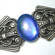 SALE Egyptian Revival Giant Oil Slick Irridescent Cabochon Brooch