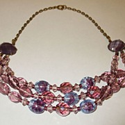 SALE Divine Deco Shades of Purple Faceted Glass Triple Twist Choker Necklace