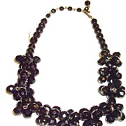 SALE Funky Black Glass Cluster Bead Necklace
