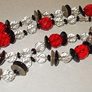 SALE Heavy Heavenly Faceted Glass Red, Black and Crystal Necklace with Spacers