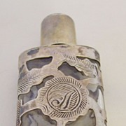SALE Etched Design Mexico 925 Silver Cased Perfume Bottle