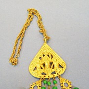SALE ART Aztec Inspired Pendant Necklace with Green Dangles