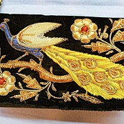 SALE Embroidered and Beaded Velvet Peacock Evening Purse