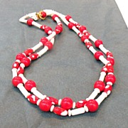 SALE Red and White Glass Bead Double Strand Necklace