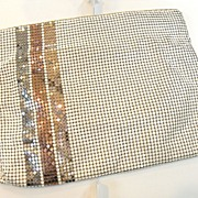 SALE WHITING AND DAVIS 1985 Metallic Stripe and White Clutch Hand Bag