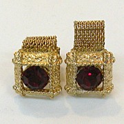 SALE Ruby Colored Rhinestone Fabulous French Cuff Links