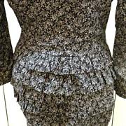 SALE CLAUDE BARTHELEMY Paris Ruffled Derriere Black Liberty Print Suit