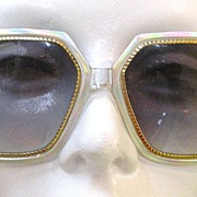 SALE TED LAPIDUS Oversize Silvery Metallic and Clear Eyeglass Frames