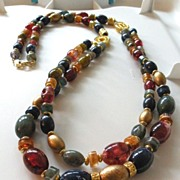 SALE Richly Colored Beaded Double Strand Long Necklace