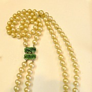 SALE CINER Imitation Pearl and Carved Peking Jade Green Glass Color Clasp with Rhinestone