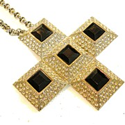 SALE CADORO Icy Rhinestone and Black Square Stone Cross Convertible Brooch Necklace