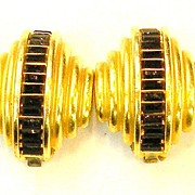 SALE DIVA Black Baguette Sculptural Earrings with Matte Finish