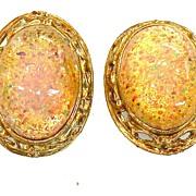 SALE Dragon Opal Speckled Rhinestone Earrings in Baroque Setting