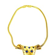 SALE D'ORLAN Blue Rhinestone and Gold Tone Metal Sculptured Necklace