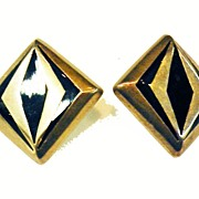 SALE Estate Modernist Inlay Enamel Mexican 925 Sterling Earrings