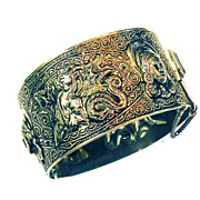 SALE Dragon and Maiden Hammered and Scroll Work Filigree Hinged Clamper Cuff