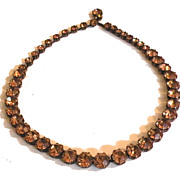 SALE WEISS Unusual Colored Pinkish Amber Rhinestone Set in Copper Necklace