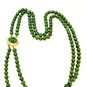 SALE Deep Gorgeous Green Double Strand Glass Necklace with Rhinestone and Cabochon Clasp