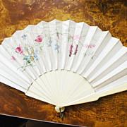 SALE Antique French Floral Hand Painted Pois de Sois Silk Fan with Bone Handle