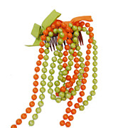 SALE 1960s Funky Bright Green and Orange Bead and Ribbon  Hair Comb