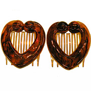 SOLD Vintage French Heart Shaped Tortoise Color Lucite Hair Combs