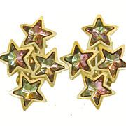 SALE 1985 Signed MF Iridescent Purple Blue Shooting Star Earrings