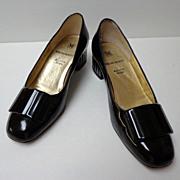 "Bruno Magli Shoes.  Italian designer. 1 ½"" heel. Black Patent Leather. Size 5  B.  Quality"